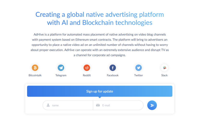 AdHive, a mass-scale native video advertising platform announcing ICO
