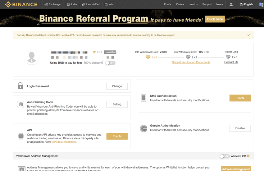 binance deposit funds page