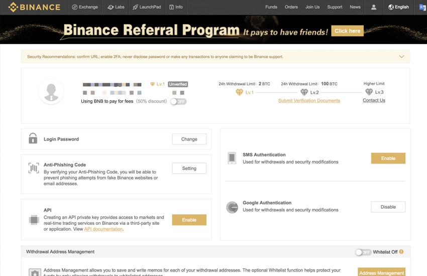 binance deposit funds page